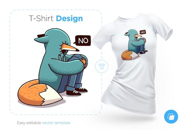 Обиженная лиса в дизайне футболки с капюшоном. печать на одежду, плакаты или сувениры. векторная иллюстрация
