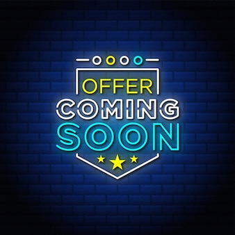 Offer coming soon neon signs style text design in blue bricks background.
