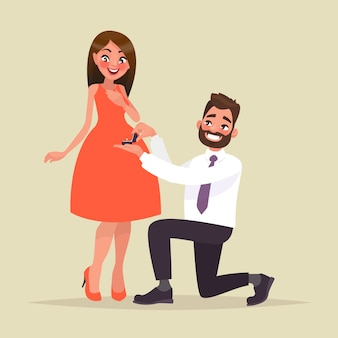 An offer of marriage. man proposes a woman to marry him and gives an engagement ring. in cartoon style