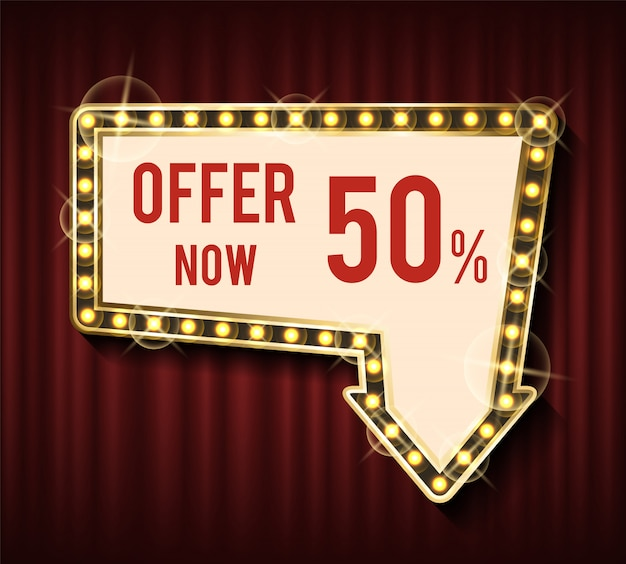 Offer now 50 percent off, lowering of price banner
