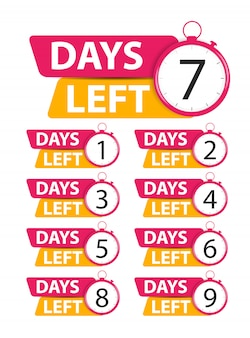 Offer sale business sign with days left collection set.