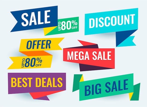 Modello di disegno di banner geometrici di offerta e vendita