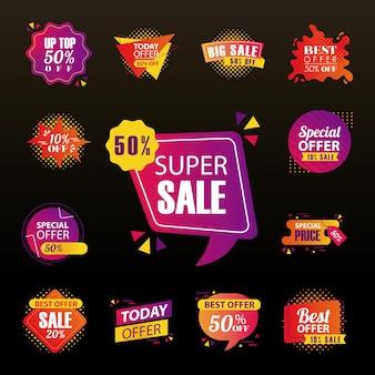 Предлагайте продажи этикеток и баннеров, дизайн коллекции символов, покупки и скидки на тему иллюстрации