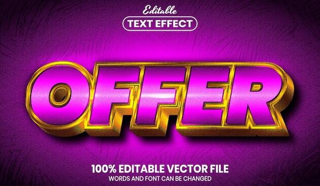 Offer text, font style editable text effect