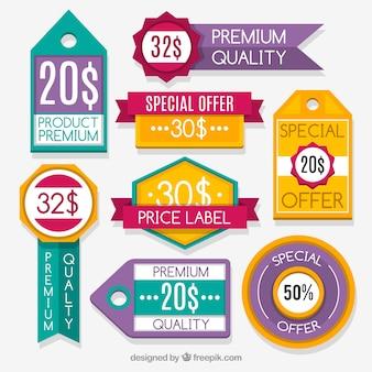 Offerte set di adesivi in design piatto