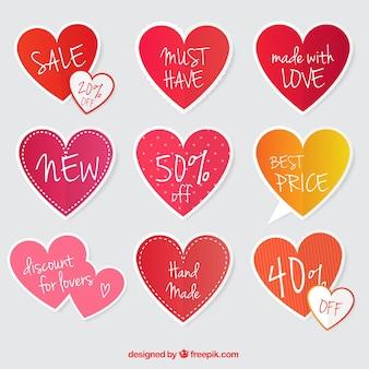 Offre set di adesivi con il cuore forme