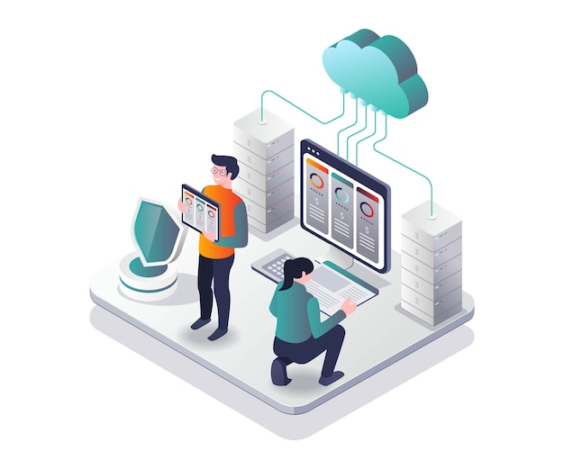 Offers web hosting package prices in isometric design