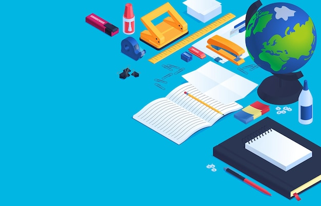 Офисные и школьные канцелярские принадлежности фон