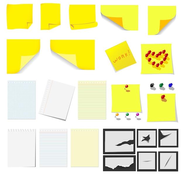 사무실 및 학교, 노란색 스티커 메모 및 디자인을위한 종이 세트