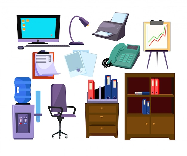 Office attributes illustration set