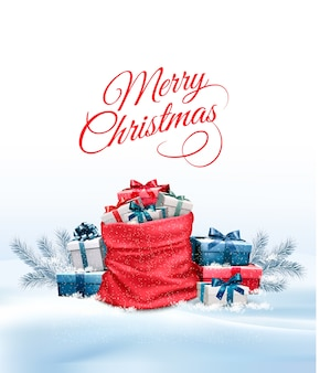 Office background with santa hat, tablet and office supplies