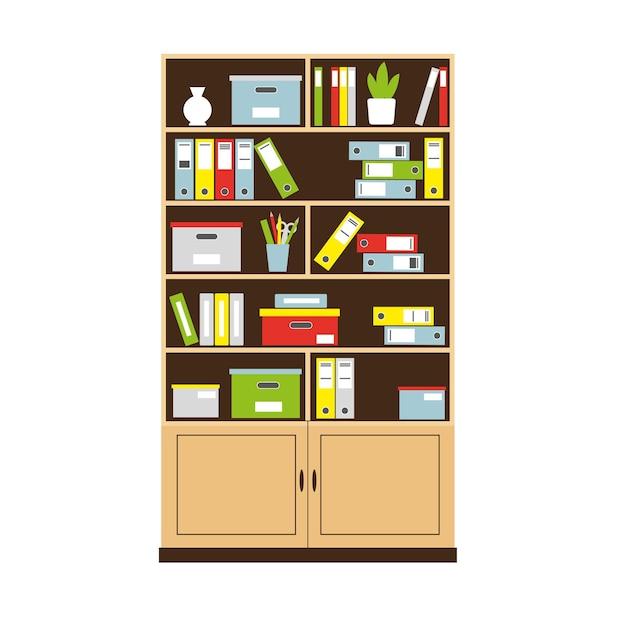 インテリアコンセプトの本やフォルダーが入ったオフィスの本棚。図。