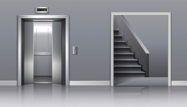 Office building  elevator with half closed doors and stairs.