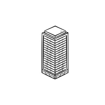 オフィスビル手描きアウトライン落書きアイコン。不動産、広告、不動産、ビジネス、都市のコンセプト