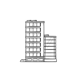 オフィスビル手描きアウトライン落書きアイコン。シティダウンタウン、ビジネスセンター、不動産、家賃のコンセプト