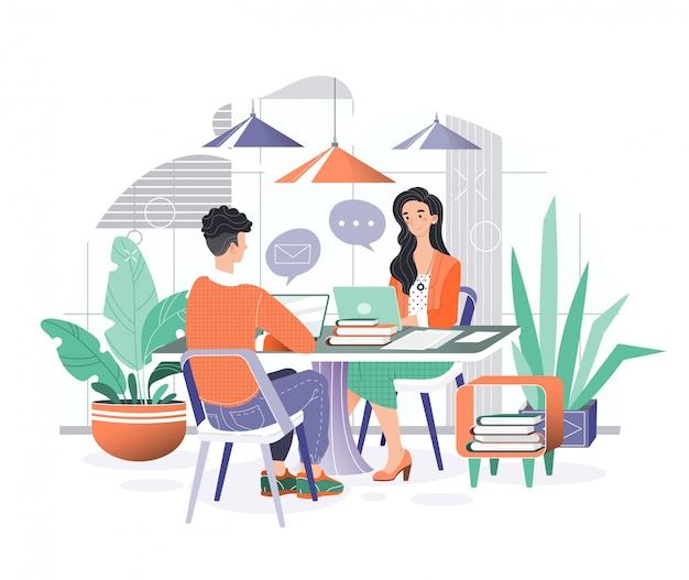 Управление деловой характер иллюстрации, мультфильм улыбающиеся деловые люди сидят за ноутбуками, работая в уютном интерьере офиса