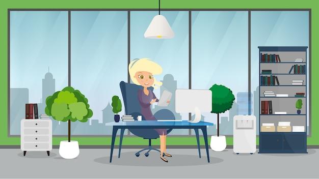 女の子とのオフィスビジネスインテリア。テーブルとコンピューターの背景。