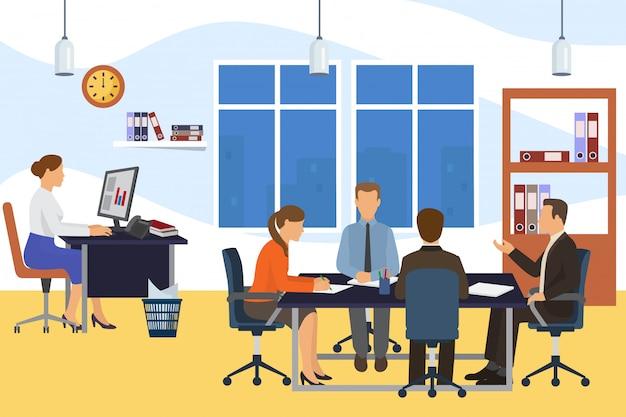 オフィスビジネス会議チームの人々、イラスト。漫画のテーブルでチームワーク、グループキャラクターのブレーンストーミングと作業