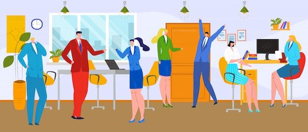 オフィスビジネスチーム、人々のチームワークの図。企業の会議でクリエイティブなワークグループ、デスク近くの会社の人のキャラクター。ノートパソコン、コンピューターの概念で労働者の仕事。