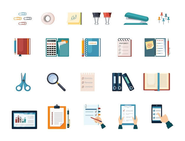Office and business work supplies set. document folders and calculator with management notebook magnifying glass and stapler paper clips sheets with scissors and pencil. vector flat project.