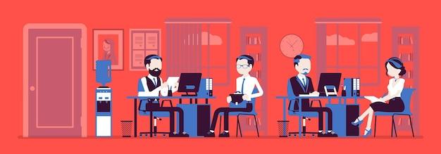 Офисное рабочее пространство, менеджер по персоналу проводит собеседование соискателя, работают сотрудники компании. занятые сотрудники сидят за столиками с компьютерами, телефонами, встречают клиентов. векторная иллюстрация, безликие персонажи