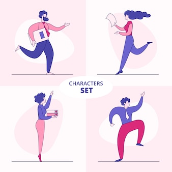 Office businesspeople characters flat vector set