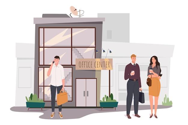 オフィスセンタービルのウェブコンセプト。従業員は入り口に立ち、コーヒーを飲み、仕事について話し合っています。電話をかけるビジネスマン