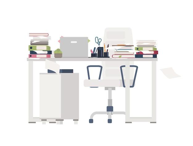 Офисный стул и стол полностью завалены документами, папками, канцелярскими принадлежностями. стол завален бумагами. рабочее место и огромный объем работы. красочный плоский мультфильм векторные иллюстрации.