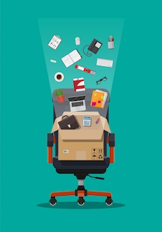 Office chair and box with office itmes