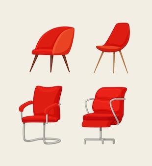 사무실 의자 만화 일러스트 레이 션. 비즈니스 고용 및 모집 개념. 플랫 스타일의 현대적인 가구 디자인.