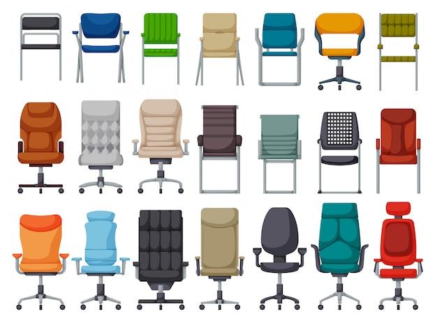 Офисный стул мультфильм установить значок. иллюстрация кресло на белом фоне. мультфильм установить значок офисный стул.