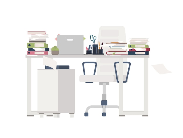 Office chair and desk completely covered with documents, folders, stationery. table cluttered with papers. working place and overwhelming amount of work. colorful flat cartoon vector illustration.