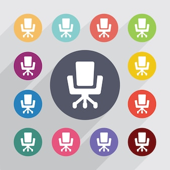 Office chair , flat icons set. round colourful buttons. vector