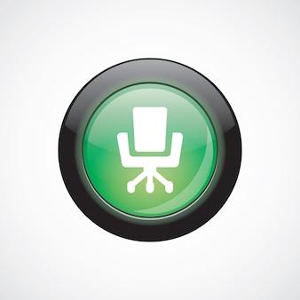オフィスチェアガラスサインアイコン緑の光沢のあるボタン。 uiウェブサイトボタン