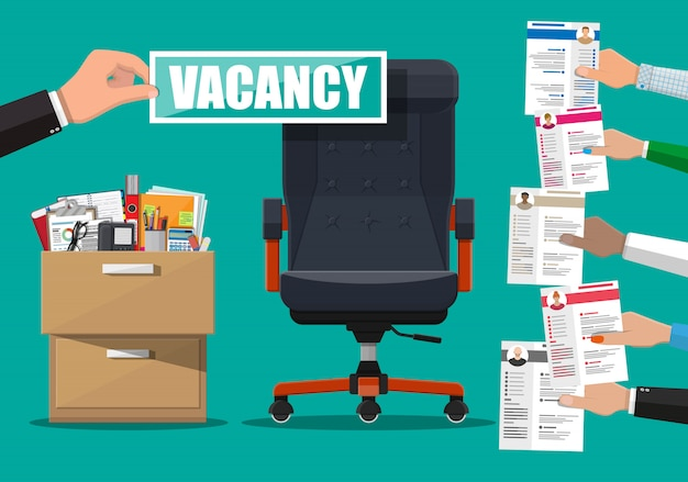 Office chair and sign vacancy in hand of boss.
