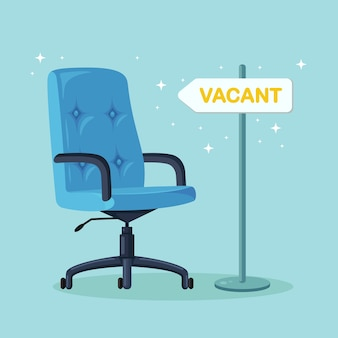 Office chair with sign vacant. business hiring, recruitment concept. vacant seat for employee, worker