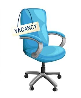 Офисный стул со знаком вакансии пустое место на рабочем месте для иллюстрации найма бизнеса сотрудника на белом фоне