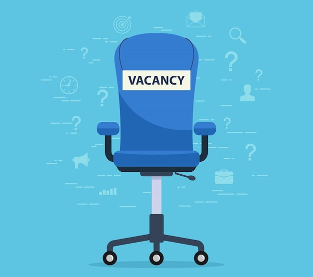 Office chair with a vacant seat. concept finding an employee to work.
