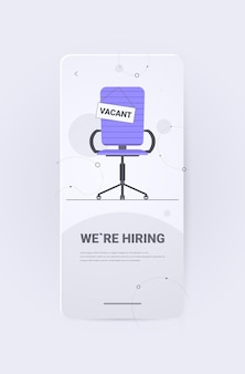 Office chair with vacant sign we are hiring join us vacancy open recruitment human resources unemployment