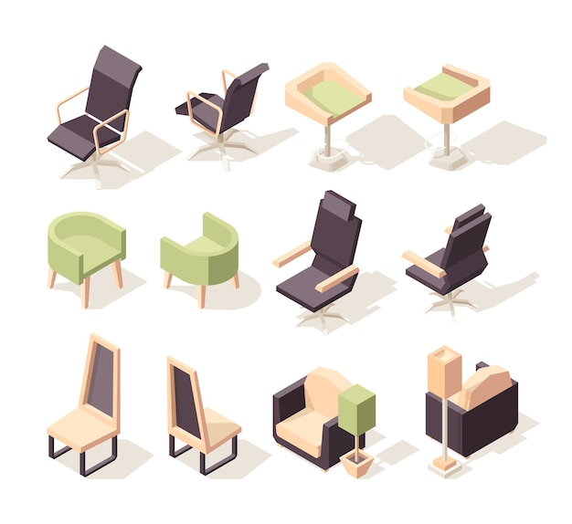 Office chairs. modern furniture chairs and armchairs low poly isometric 3d pictures