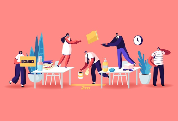 Office characters in medical masks work in office on distance. worker man painting distancing markup between desks. working process during coronavirus pandemic. cartoon people vector illustration