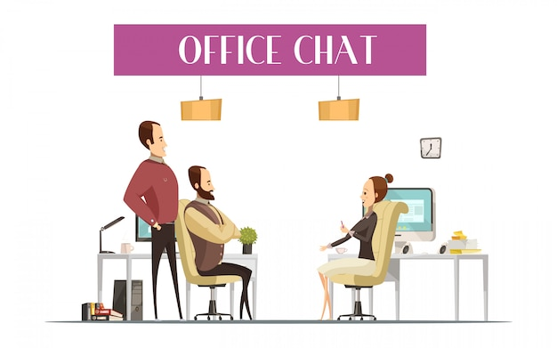 Office chat composition in cartoon style