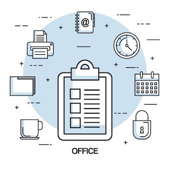 사무실 점검표 종이 시계 달력 프린터 파일