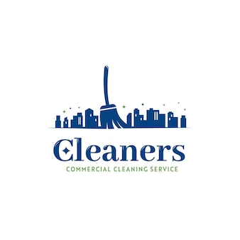 Office and city commercial building cleaning service janitor logo icon with city silhouette