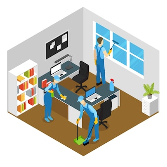 Office cleaning isometric composition