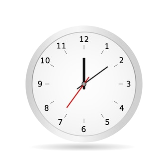 Office clock vector illustration classic white