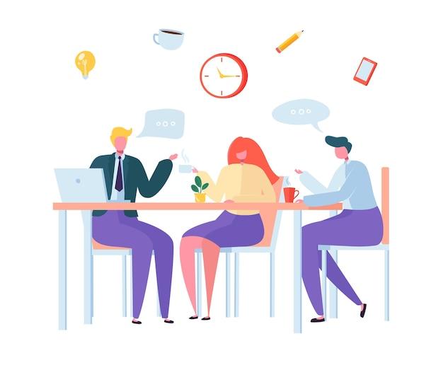 オフィスコーヒーブレイク。ランチタイムのビジネスキャラクター。一緒に座ってお茶を飲む従業員。職場でチャットしている同僚。