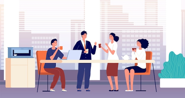 Office coffee break. business lunch, managers in cafeteria or kitchen room. friends meeting, people drinking and talking  illustration. office lunch break, business coffee drink