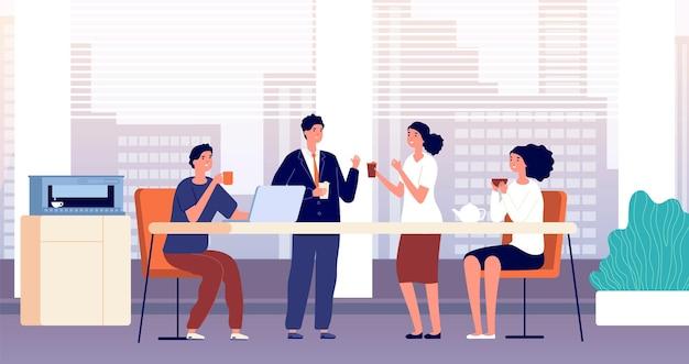 사무실 커피 브레이크. 비즈니스 런치, 카페테리아 또는 주방 실의 관리자. 친구 모임, 사람들이 술을 마시고 그림을 이야기합니다. 사무실 점심 시간, 비즈니스 커피 음료