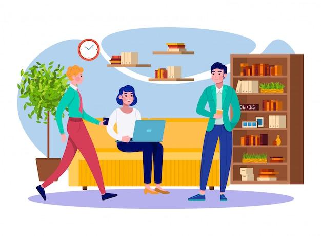 オフィスコーヒーブレークビジネス人々チームは仕事の図でリラックスします。若い男性と女性の専門家は、コーヒーブレークと会議を持つ会社のオフィスで一緒に集まります。